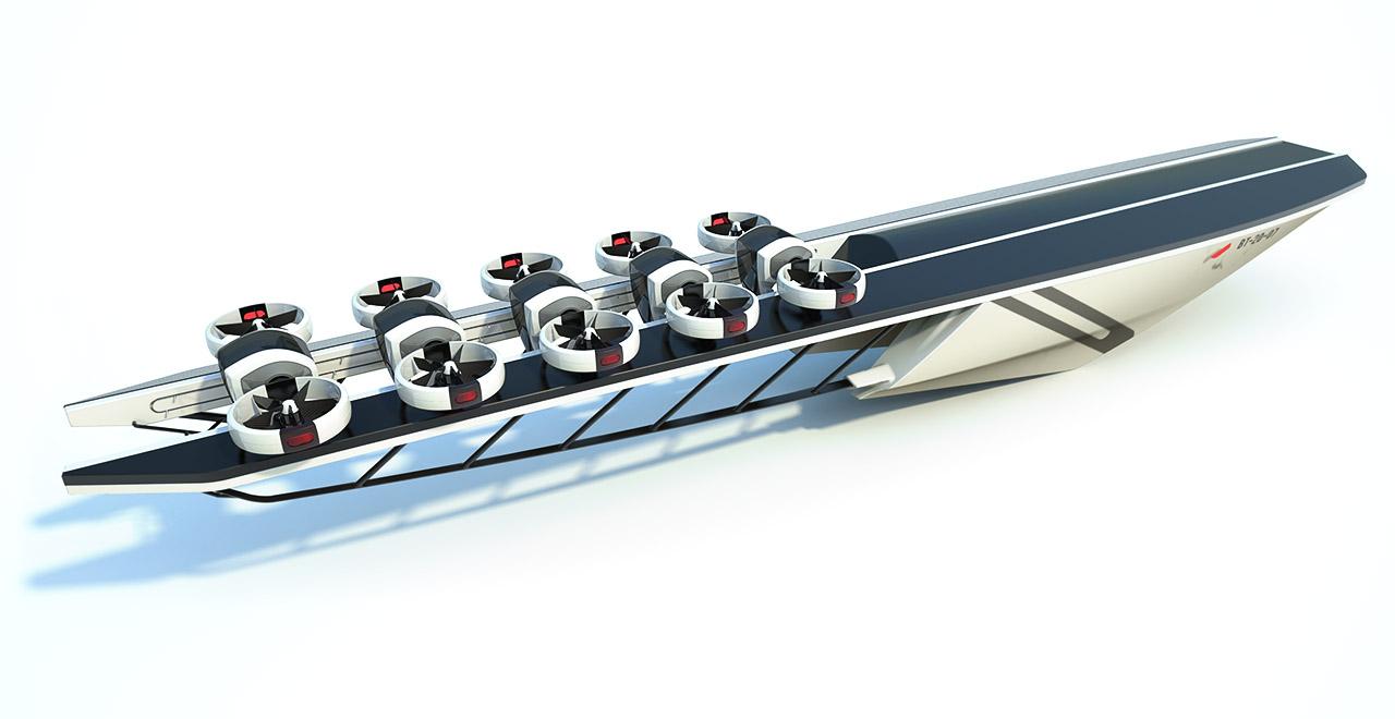Industrial Design - Tender America's Cup mit Drone Konzept Rendering - Florian Mack