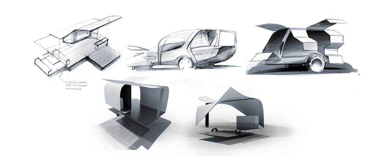 Industrial Design Sketch - Florian Mack - Livano Wohnwagen Design