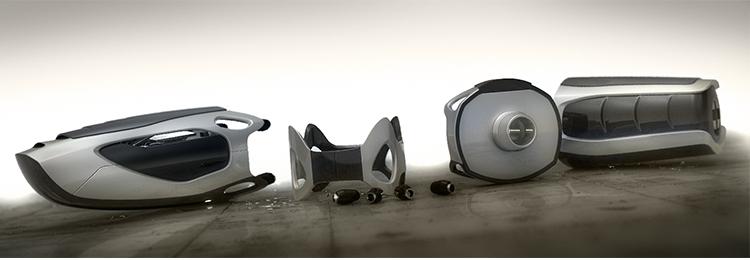 Industrial Design - Q.R.U. Wüstenrettung Roboterschlange Exploded View- Florian Mack