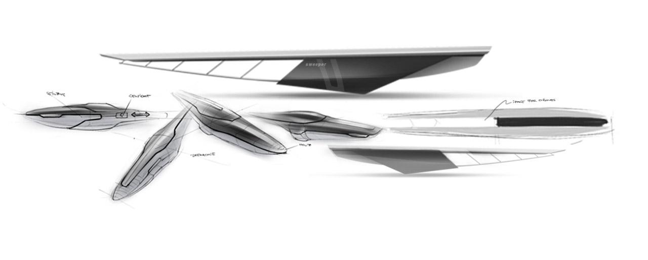 Industrial Design - Tender America's Cup mit Drone Designsketch - Florian Mack